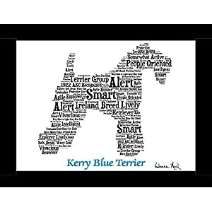 Kerry Blue Terrier Dog Wall Art Print - Personalized Pet Name - Gift for Her or Him - 11x14 matted - Ships 1 Day 4