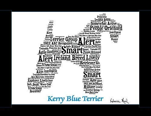 Kerry Blue Terrier Dog Wall Art Print - Personalized Pet Name - Gift for Her or Him - 11x14 matted - Ships 1 Day ()