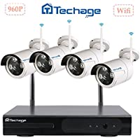 Superior to 720PTechage 4CH Wireless/Wifi CCTV Security System Plug and Play 960P HD Outdoor Night Vision 1.3mp Camera IP Home Surveillance System, Without Hard Drive