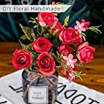 ANPHSIN-5-Branch-10-Heads-Artificial-Fake-Flowers-Silk-Plastic-Vintage-Rose-Floral-Wedding-Bridal-Bouquet-for-Home-Kitchen-Room-Garden-Party-Decor-Pack-of-4-Red
