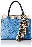 MG Collection Dorit Ostrich Tote Shoulder Bag, Blue, One Size