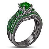 TVS-JEWELS Women's /Girl Green Sapphire Black Rhodium Plated 925 Silver Bridal Wedding Ring Set (6.25)