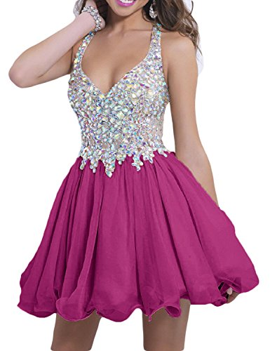 Gown Short Fuchsia Beaded LMBRIDAL A Sexy Womens Sparkly Line Homecoming Prom Dress 2018 FvSSwZ6Xq