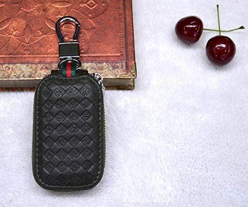 車のキーバッグ、男性と女性のための適切なクリエイティブレザー車のキーケースエンボスレザーキーカバージッパーケース (Color