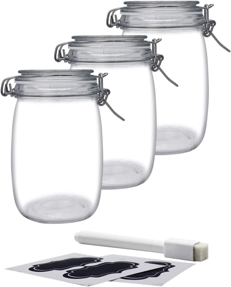 YEBODA 32oz Food Storage Canister Glass Jars with Clamp Airtight Lids and Silicone Gaskets for Multi-Purpose Kitchen Containers - Clear Round (3 Pack)