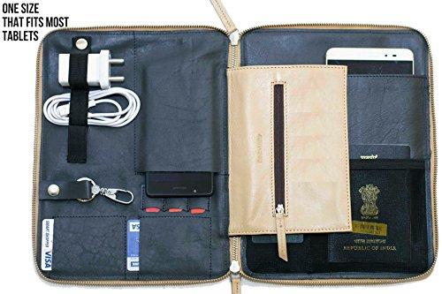 IFZA iPad Portfolio Galaxy Tab Sleeve Kindle Sleeve - Premium Leather Zip around Case. Pro 10.5,9.7,Air,Tab (Traveler Portfolio)