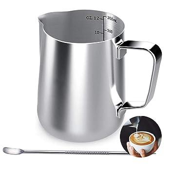 Jarra de leche de acero inoxidable, 350 ml, taza de café de mano con marca de medición y lápiz artístico de leche