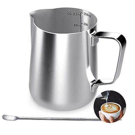 Jarra de leche de acero inoxidable, 350 ml, taza de café de mano ...