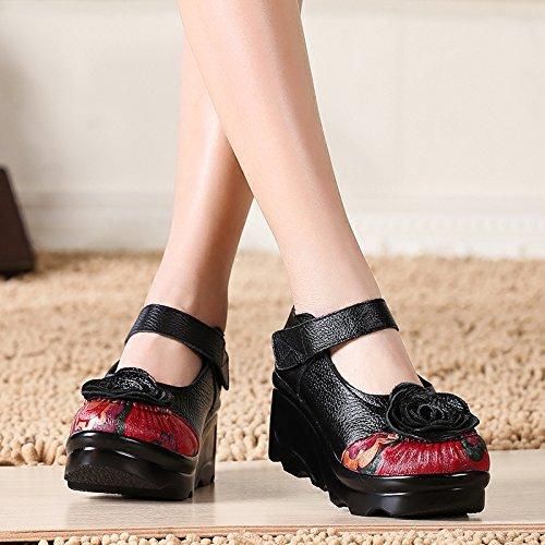 Chinois Les Semelles Coins black Chaussures KHSKX Muffin Style Folklorique Épaisses À fP5d7xpwq