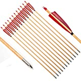 PG1ARCHERY Archery Wooden Arrows, 12pcs Traditional Target Hunting Arrows with 5' Red Turkey Feathers Fletching for Recurve & Compound Bow Shield Feather