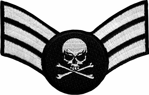 Air Force Sergeant Insignia - Skull & Crossbones - Embroidered Iron On or Sew On Patch