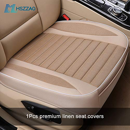 MHSZZAO Ultra-Luxury Single Seat Without Backres Car Seat Protection Car Seat Cover Car-Styling for Most Four-Door Sedan&SUV(Beige)
