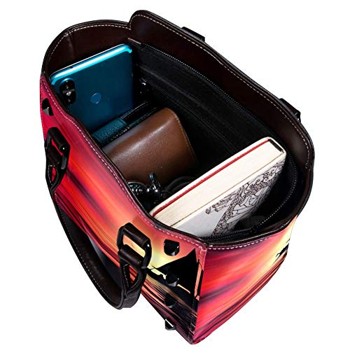 Nananma Schultertasche mit Tragegriff für Damen, Leder, mit Sonnenuntergang mit Boot-Druck, Umhängetasche, Schultertasche, Hobo-Tasche, Handtasche