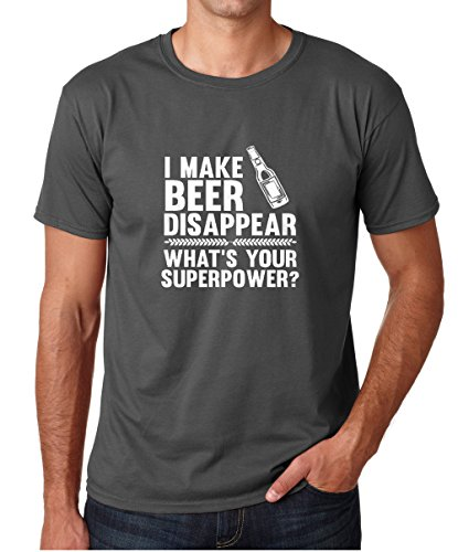 (CBTWear I Make Beer Disappear, Whats Your Superpower? Beer Lover - Drinking Tee - Funny Men's T-Shirt (Small, Charcoal))
