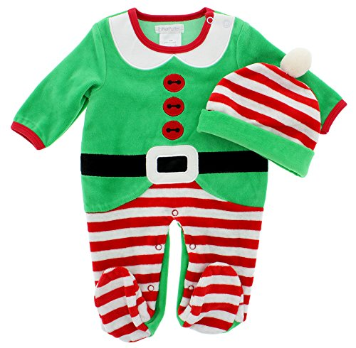 Pitter Patter Baby Boys' 2-Piece Plush Velour Suit (0-3 Months, Elf) (Elf Suit For Baby)