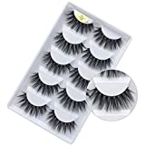 3D Faux Mink Lashes Dramatic Long Natural Handmade Crossed Cluster False Eyelashes 5 Pairs (Dramatic)