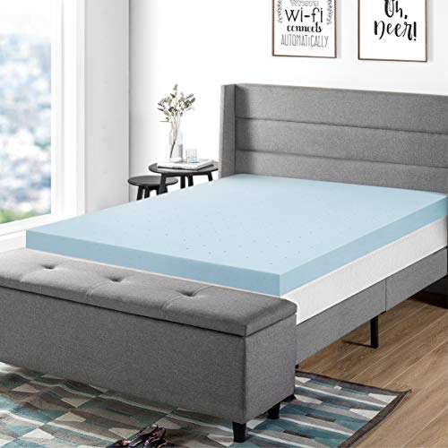 "Best Price Mattress 4"" Gel Memory Foam Mattress Topper Queen Blue"