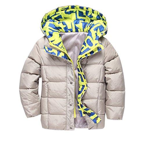 OMSLIFE Winterjacke für Kinder Jungen Mädchen verdickte Daunenjacken Mantel Trenchcoat Outerwear mit Kapuzen (Höhe 105-112cm (Etikett 130), khaki)