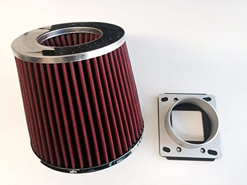 - Air Intake Cone Filter + MAF Sensor Adapter For 1984-1991 BMW E30 3-Series (318/325/M3) (Red)