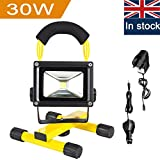 Rechargeable LED Work Light, URPIRE 3600lm 30W Portable Bright Day White Floodlight, IP65 Waterproof Camping Traveling Outdoor Emergency Hand Work Lamp (Adapter and Car Charger Included)
