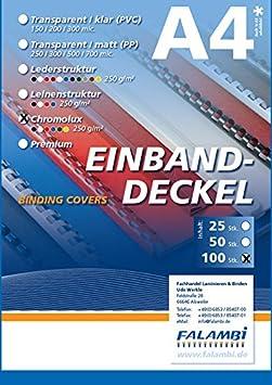 100 Einbanddeckel Chromolux, Rückenkarton 250 gr/m², Rückendeckel für Bindungen (blau) FALAMBI