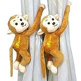 One Pair Cartoon Small Animal Creative Curtain Buckle Curtain Straps Cute Doll Curtain Clip (Monkeys)