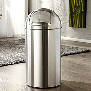 Diseño retro grande PUSH CAN XL cubo de basura de cromo
