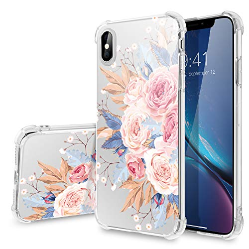 iPhone Xs Max Case,WATACHE Flower Floral Pattern Clear Crystal Printed Slim Fit Soft TPU Protective Cover with Reinforced Corners Cushion for Apple Phone Xs Max(6.5) - Colorful Flower#2