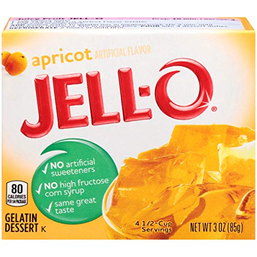 JELL-O Apricot Gelatin Dessert Mix (3 oz Boxes, Pack of 6)]()