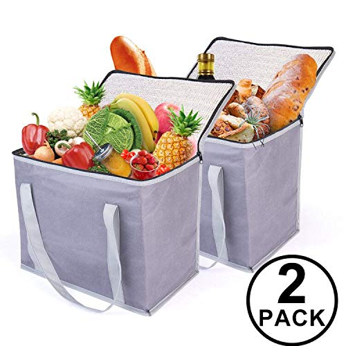 - 2 Insulated Reusable Grocery Shopping Bags, Xl, Large Soft Picnic/Lunch Cooler Bags Zipper Zippered Top