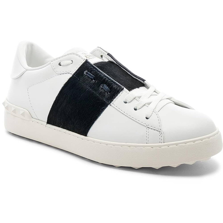 (ヴァレンティノ) Valentino メンズ シューズ靴 スニーカー Leather Sneakers With Calf Hair [並行輸入品] B07F77LP6Z