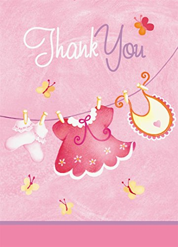 Pink Clothesline Girl Baby Shower Thank You Note Cards, (Baby Clothesline Invitation)