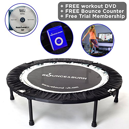 Maximus Life Bounce Burn Foldable Indoor Mini Trampoline Rebounder for Adults. Fun Way to Lose Weight and get FIT Includes Rebounding Workout DVD, Video Membership. Optional Handle Bar.