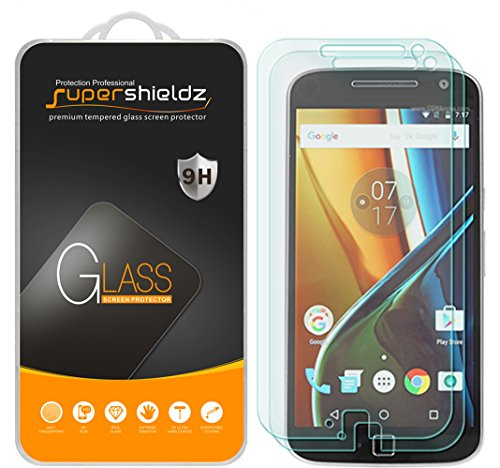 [2-Pack] Supershieldz for Motorola Moto G4 Plus / Moto G Plus (4th Generation) Tempered Glass Screen Protector, Anti-Scratch, Anti-Fingerprint, Bubble Free, Lifetime Replacement Warranty