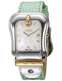 Fendi Women's 'B.' Swiss Quartz Stainless Steel and Leather Dress Watch, Color:Green (Model: F382114581D1)