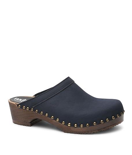 8c91c49379a27 Sandgrens Swedish Low Heel Wooden Clog Mules for Women | Athens Navy, EU 35