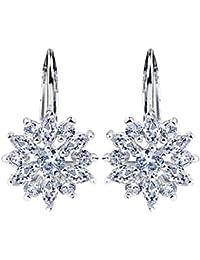 18K White-Gold Plated Snowflake Cubic Zirconia Drop Dangle Earrings