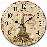 ZXLIADLY Fashion Vintage Eiffel Tower Paris Wooden Classic Design Rustic Home Decor Wall Clock Bring You Everything is…