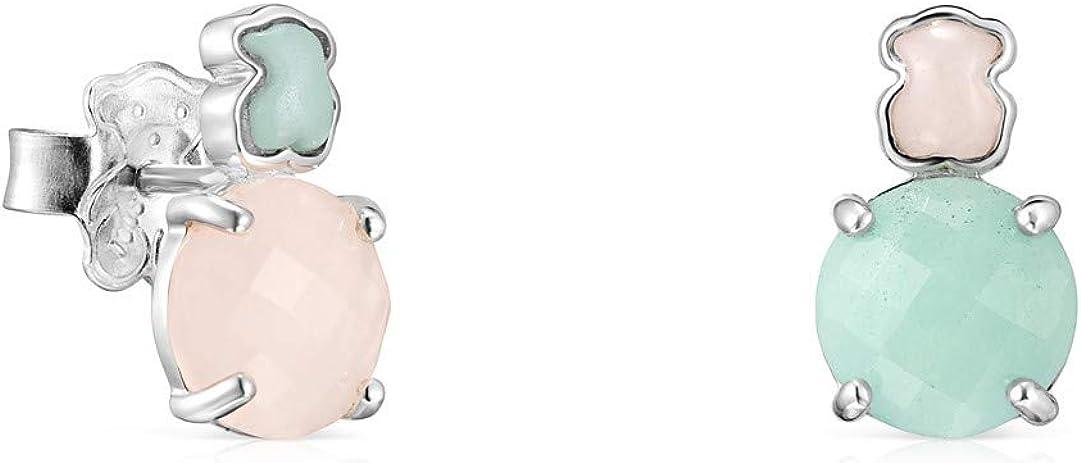 Pendientes Mini Color de Plata con Amazonita y Cuarzo rosa