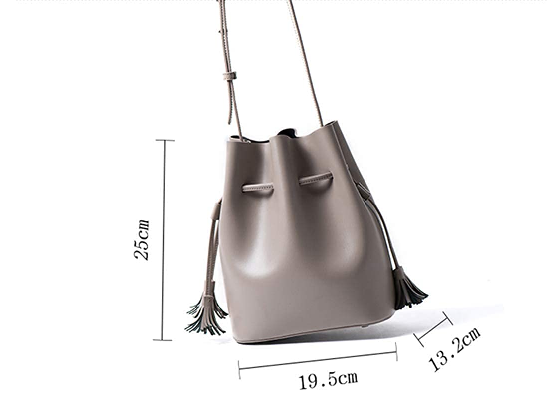 2fa3ee4ce760 AUMI 4 Leather Bucket Bag for Women Small Shoulder Gray Purse with ...
