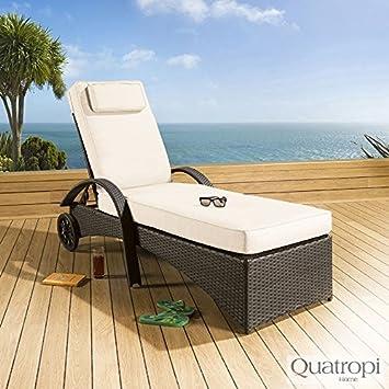 Gran lujo Garden tumbona de ratán/tomando el sol/Day Bed Negro y crema: Amazon.es: Jardín