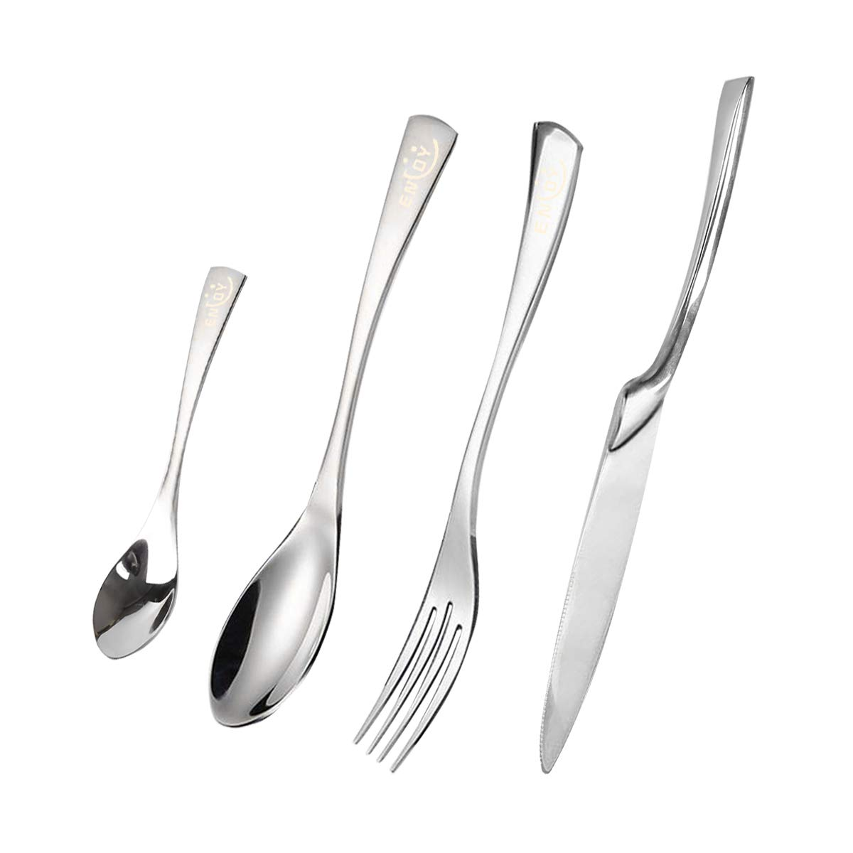 Silverware Set, Flatware Cutlery Set Stainless Steel Modern Sleek Design Utensils Service for 4, Durable 16-Piece Tableware Set with Knife, Fork and Spoons for Camping, Restaurant and Everyday Use