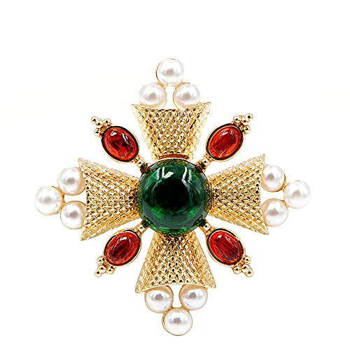 GLEEBROOCH Fashion Pearl Brooches Pin Cross Brooches for Women Coat Accessories Vintage Jewelry
