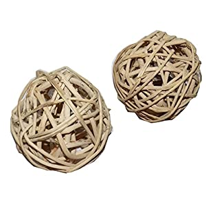 All Natural Large Vine Balls - Chew Toy For Rabbits, Guinea Pigs, Chinchillas, Birds, Gerbils, Hamsters, and Other Small Pets (Set of Two 4 Inch Wicker Balls) 26