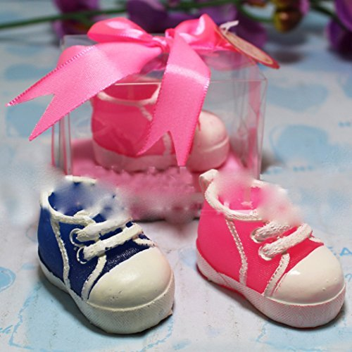 AiXiAng Handmade Baby Girl Plimsolls Style Smokeless Candle Cake Topper Baby Shower Favors Giveaway Gift Boxed for Guests Keepsake Gift ,Baby Shower Party Favor Decoration