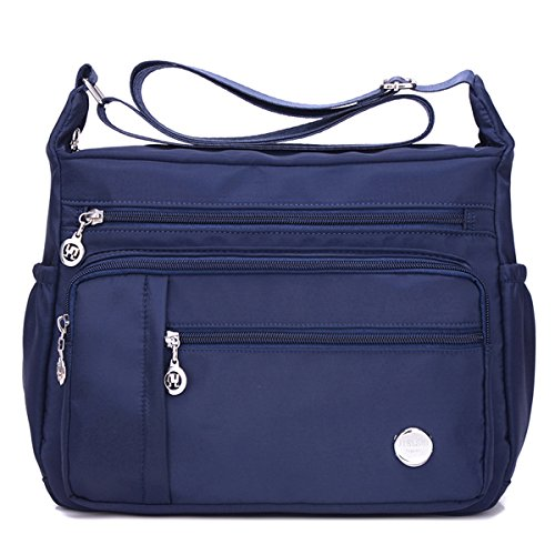 Waterproof Nylon Shoulder Crossbody Bags - Adjustable Shoulder Strap Handbag Multiple Zippered Elastic Pockets with Organizer fors Wallet, Passport, Boarding Pass, Water Resistant ( Navy Blue, Small) by Cloth Shake
