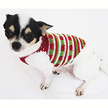 Casual Dog Clothes Cotton Crochet Pet Clothing Handmade Red Green White Christmas  Costume Chihuahua, Teacup Dogs, Puppy, Small Dogs, Medium Dogs, Big Dogs ... - Amazon.com : Casual Dog Clothes Cotton Crochet Pet Clothing Handmade