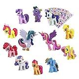 Pony Dolls, Pony Toys Figurines Playset,12pcs Kids Cupcake Cake Toppers + 6pcs Pony Stickers