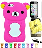 Bukit Cell ® Bundle - 4 Items: Bukit Cell ® HOT PINK 3D Teddy Bear Soft Silicone Case for iPhone 5C, Bukit Cell ® Cleaning Cloth, Screen Protector and Metallic Stylus Touch Pen with Anti Dust Plug
