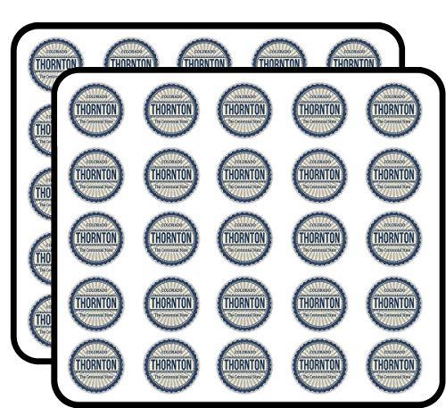 Thornton City Colorado State USA Grunge Travel Sticker for Scrapbooking, Calendars, Arts, Kids DIY Crafts, Album, Bullet Journals 50 Pack -